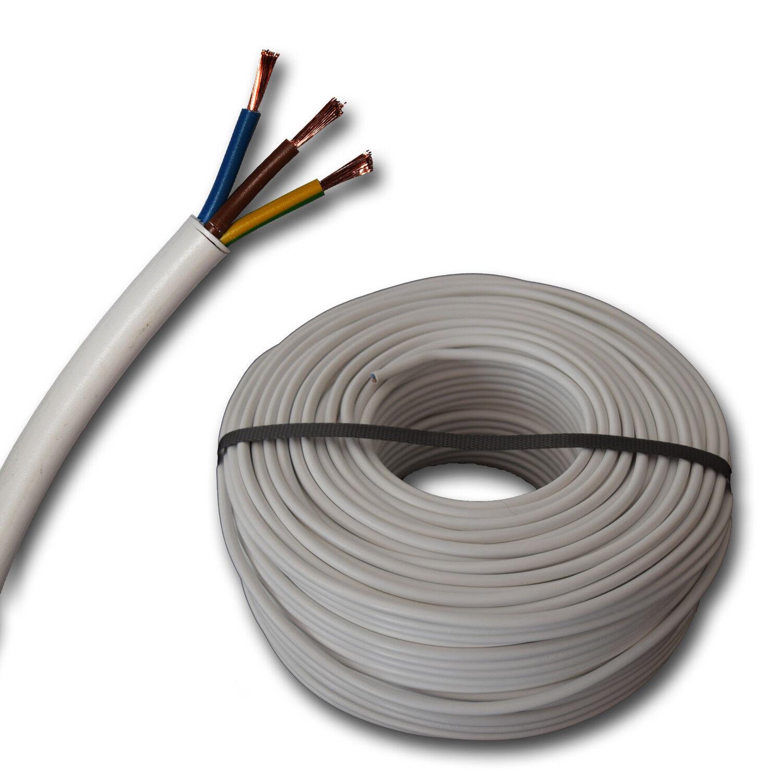 (  m) H05VV-F 3G1,5 mm² H05VVF 3x1,5 weiß Schlauchleitung - PVC - 50 Meter  | Billig