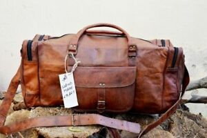 Image is loading 24-Inch-Brown-Vintage-Genuine-Leather-Cowhide-Travel- b61cbc4420dfe