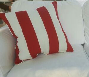 20 Pillow Solarium Deck Red White Striped Piping Nautical 4th Of