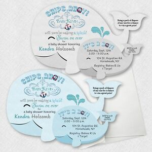 Image Is Loading 30 Nautical Sea Whale Anchor Baby Shower Invitations