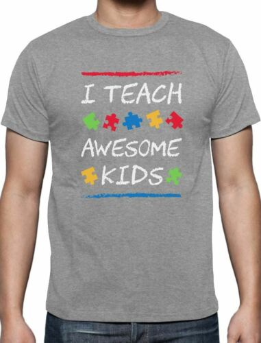 I Teach Awesome Kids Autism Awareness T-Shirt Support The Cause