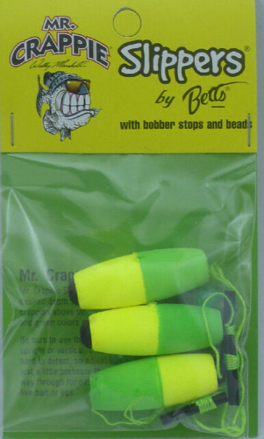 """Mr Crappie M2BW-SF-2YG Slippers Cigar Slip Floats 2.5/"""" Weighted"""