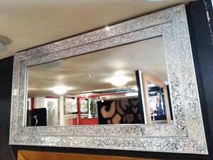 grande effetto CREPA argento mosaico in vetro specchio da parete ...