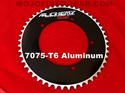 """144 mm BCD Track 1//8/"""" BLACK MOJO Alchemy Fixed Gear 49T Chainring 7075-T6"""