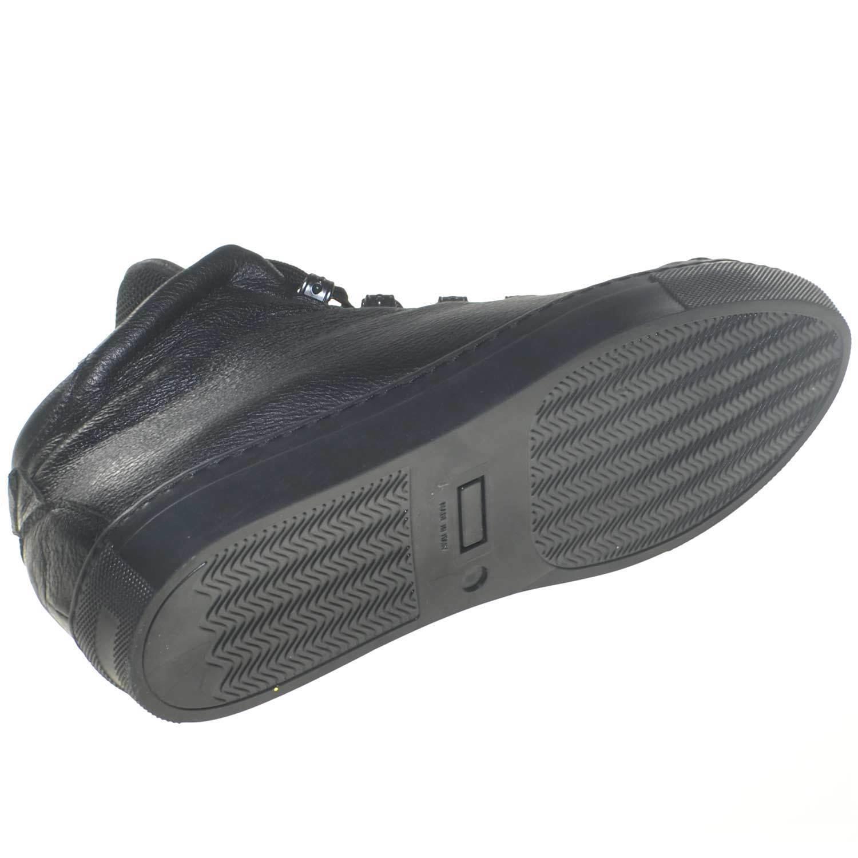 Scarpe uomo scarpe da ginnastica bassa con moda linguetta alta moda con linea sport nero in pelle bot 860840