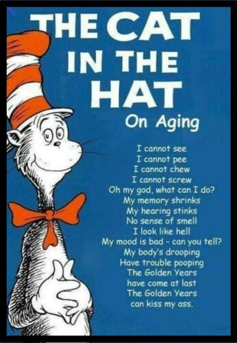 The Cat /& The Hat On Aging I Cannot See Pee Chew Screw Golden Years Kiss My Ass