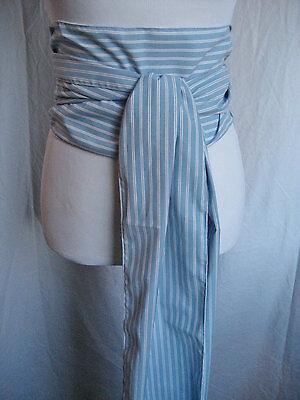 LONG Light Blue Pinstripe Striped POTC Pirate Renaissance Costume Unisex SASH
