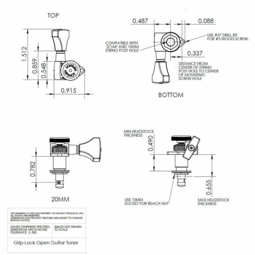 Hipshot Grip-Lock Open-Gear LARGE AMBER Buttons UMP Upgrade PRS Kit 3x3 SET GOLD