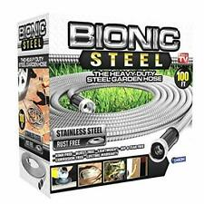 Bionic Stainless Steel Garden Hose 100 Ft Kink Free Flexible Latex Lined