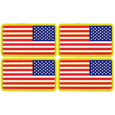 2x American Flag Golden Border Reversed PVC Morale Patch 3D Badge Hook #36