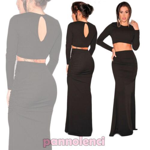Completo vestito donna abito due pezzi top e gonna lunga nuovo DL-1300