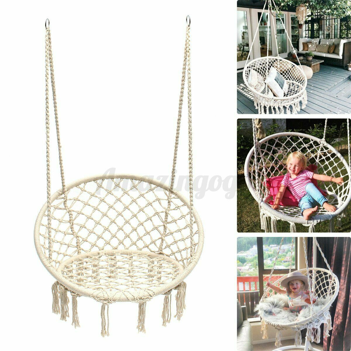 Picture of: Macrame Hanging Swing Chair Indoor White Patio 265 Lb Ceiling Rope Hammock Net For Sale Online Ebay