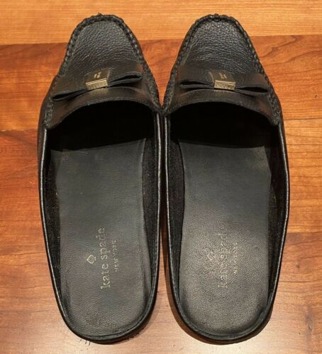 KATE SPADE Black Gold Leather Bow Slide Mule Shoes
