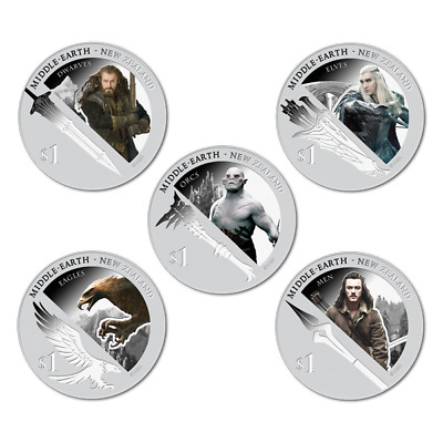 NEW ZEALAND THE BATTLE OF 5 ARMIES $1 DOLLAR COIN 2014 THE HOBBIT