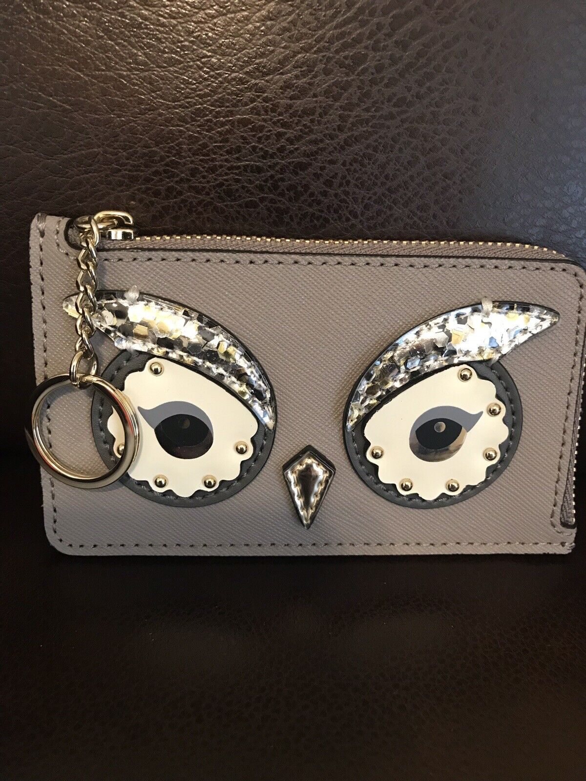 NWT Kate Spade Owl Poppy Star Bright Cityscape Credit Card Keychain Sequins