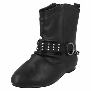 GIRLS-KIDS-FLAT-BLACK-PULL-ON-CUTE-COWBOY-SCHOOL-BOOTS-CASUAL-SHOES-SIZES-10-2