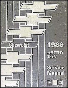 1988 Chevy Astro Van Shop Manual 88 Chevrolet Repair ...