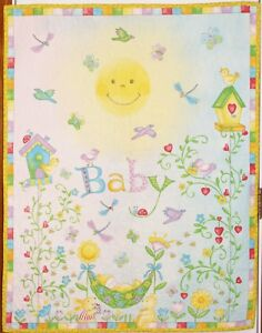 Garden-Baby-Flowers-Birds-Snails-Wall-Hanging-Handmade-amp-Finished-Quilt