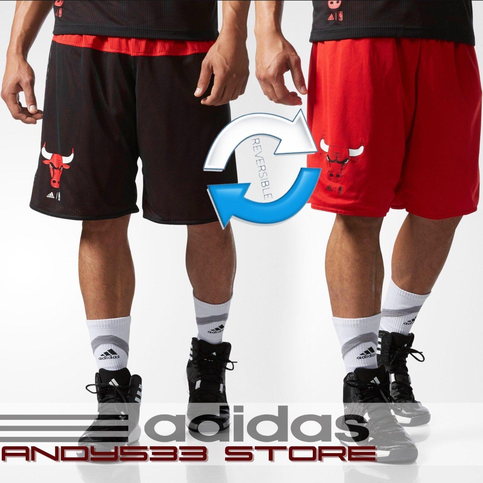 adidas Men Reversible NBA Chicago Bulls nyári futás rövidnadrág Kosárlabda 2in1 S L XL