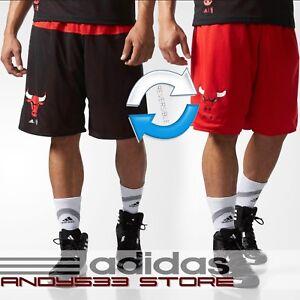 adidas Men REVERSABLE NBA Chicago Bulls Summer Run Shorts Basketball ... a4f535629b46