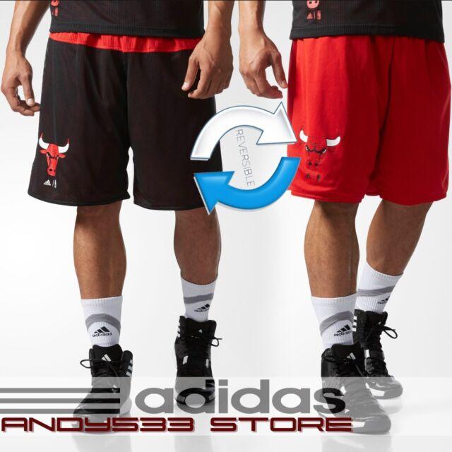 adidas Men REVERSABLE NBA Chicago Bulls Summer Run Shorts Basketball 2in1 S L XL