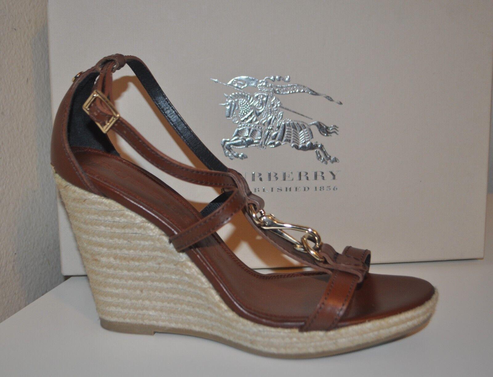 Nuevas Sandalias Alpargata Cuña Cuña Cuña de plataforma abbax Burberry zapato y Correa en el tobillo de 39 - 8.5  suministro de productos de calidad