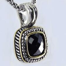 Designer Style 18KGP  Black Onyx CZ Rope Pendant Necklace Silver Gold