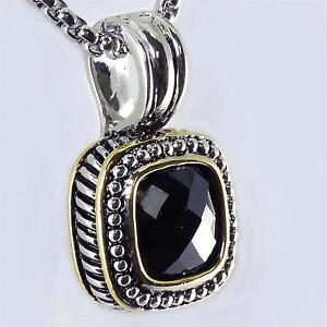 Designer Style 18kgp Black Onyx Cz Rope Pendant Necklace