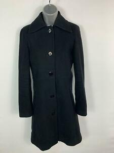 WOMENS-DOROTHY-PERKINS-BLACK-SMART-CASUAL-LONG-BUTTON-UP-WINTER-OVERCOAT-SIZE-10