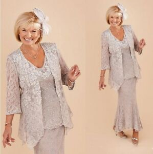 Details about Silver Lace Mother of the Bride Dress with Jacket Plus Size  3/4 Sleeves 3 Pieces