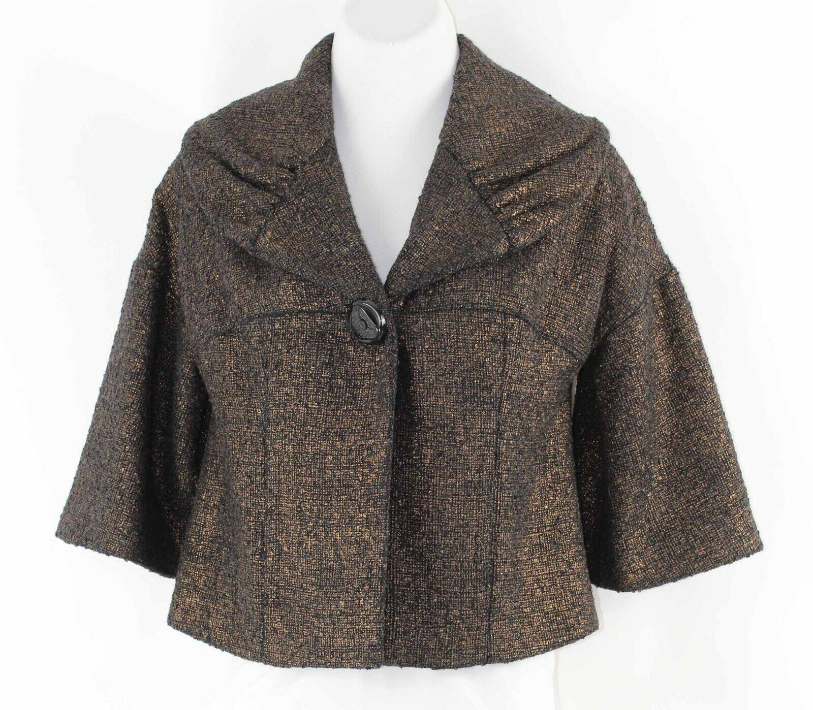 Beth Bowley Sz 4 Black Gold 1 Button Acrylic Wool Cotton Nylon Poly Jacket M004