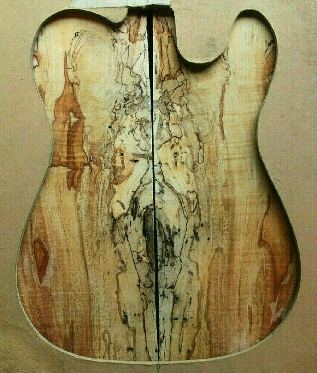 Gorgeous curly ink line spalted ambrosia maple top .30 thk guitar bass tele 1111