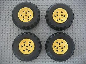 Lego-Technic-4-roues-43-2mm-x-26mm-Neuf-Yellow-wheel-Black-Tire-NEW-41896-45982