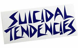 "Suicidal Tendencies White On Navy Blue Logo Sticker 6.5/"" x 3.75/"""
