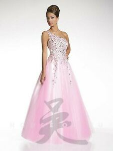 NWT Size 10 White/pink tulle one shoulder ball gown, Studio 17 12454 prom dress