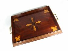 Altes Tablett, Holz, Intarsien, Messing, Frankreich oder Schweiz, um 1900
