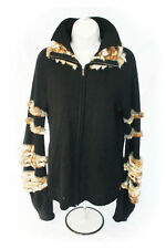 FENDI Cardigan Jacket, 100% Cashmere, Fur Trim, UK 12 EU 40 IT 44