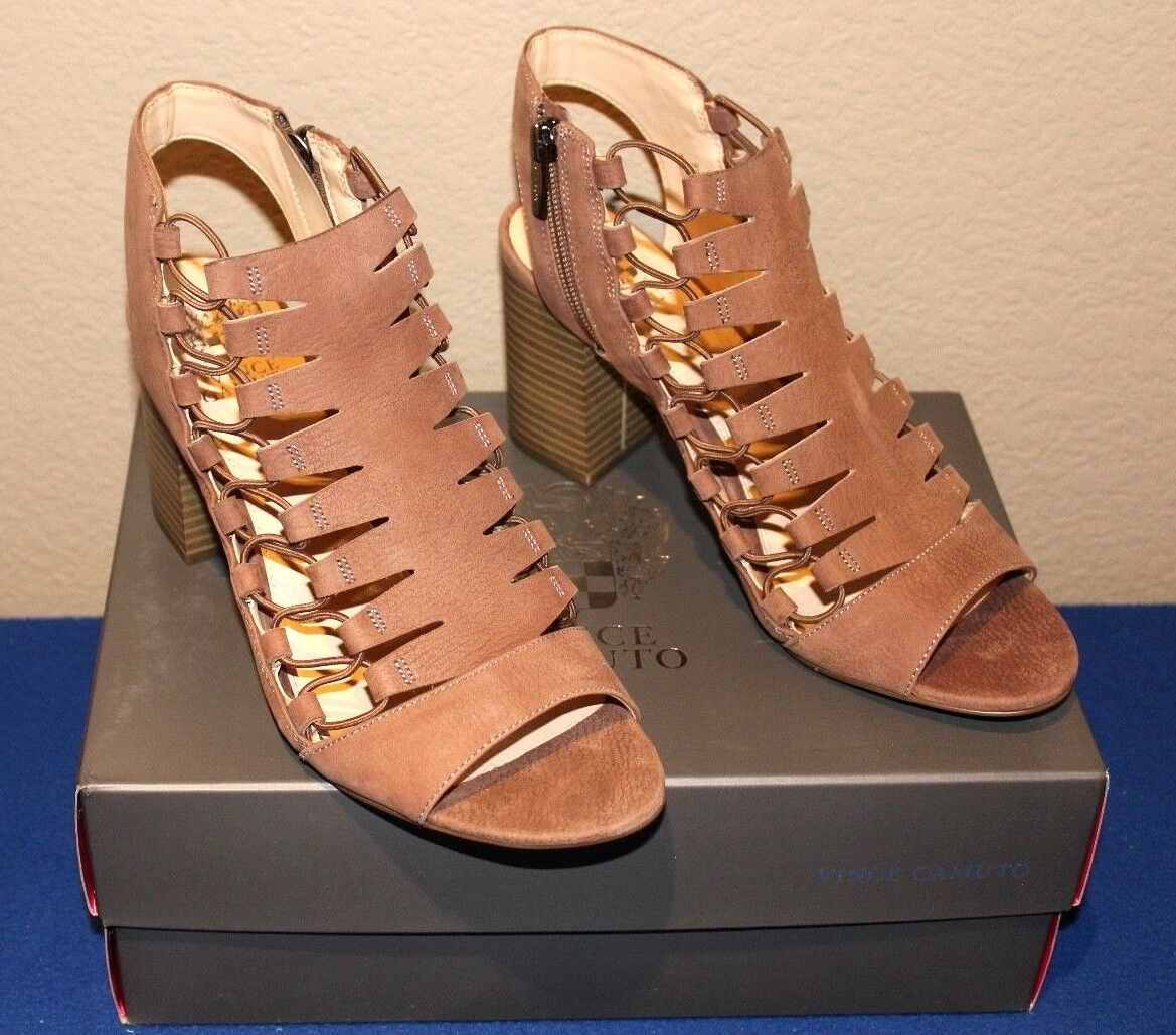 Vince Camuto Briaz Leather Stretch Block Shootie SMOKE TAUPE SIZE 9.5 W NEW BOX