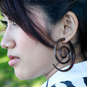 Image Is Loading Large Faux Gage Wood Earrings L Triple Spiral