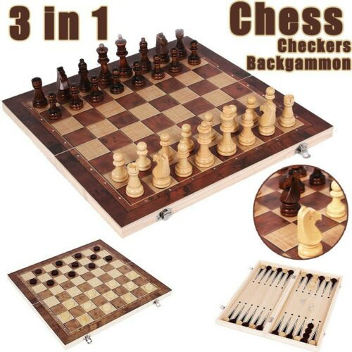 Large Chess Wooden Set Folding Chessboard Magnetic Pieces Wood Quality Board
