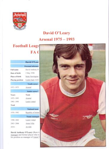 DAVID O'LEARY ARSENAL 19751993 ORIGINAL HAND SIGNED PICTURE CUTTING