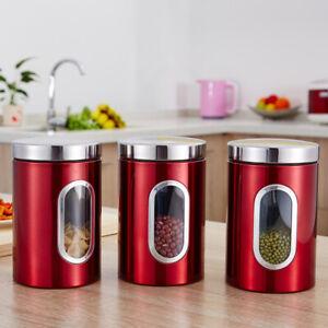 The-Cafe-Sucre-Cuisine-Stockage-Boite-Bocaux-Pots-conteneurs-Set-Hermetique-Couvercle