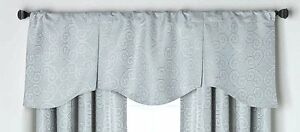 light blue gray captiva scalloped pleated window treatment. Black Bedroom Furniture Sets. Home Design Ideas