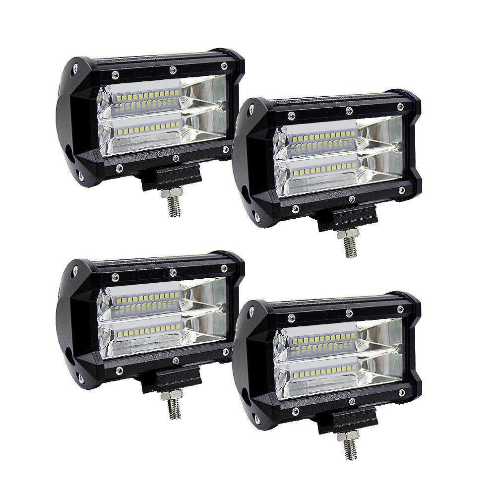 Car Parts - 4X Car Truck LED Work Spot Light Flood Driving Bright Bulb SUV 72W 12V 24V 5 in