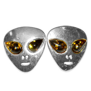 2-18g-Alien-Authentic-Baltic-Amber-925-Sterling-Silver-Earrings-Jewelry-N-A8488B