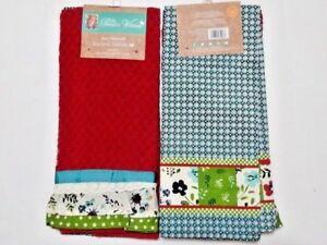 Pioneer Woman Kari Diamond Kitchen Dish Cloth Towel 2pc 100 Woven Cotton Red Ebay