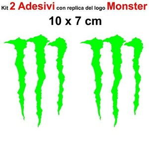 Kit-2-Adesivi-Monster-Graffio-Moto-Stickers-Adesivo-7-x-10-cm-decalcomania-VERDE