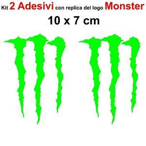 Kit-2-Adesivi-Monster-Graffio-Moto-Stickers-Adesivo-7-x-10-cm-decalcomania-VERDE