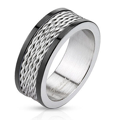 New 316L Stainless Steel Mens Black/Silver Wire Center Band Ring,Size 9-13(0035)