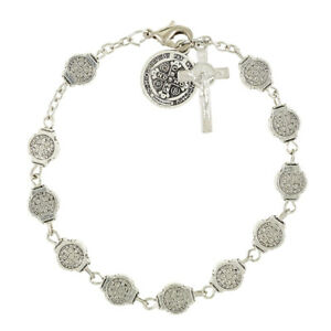 Silvertone-St-Benedict-Medals-Rosary-Bracelet-Crucifix-7-3-4-034-L-Protection